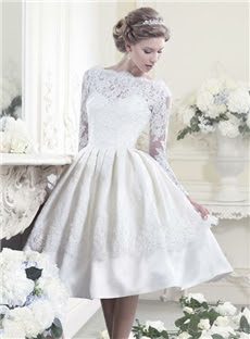 Melbourne Newest A-Line Scoop Full-Sleeve Appliques Ivory Wedding Dress